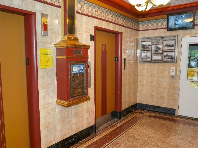 Two passenger elevators in the lobby of the Morrowfield