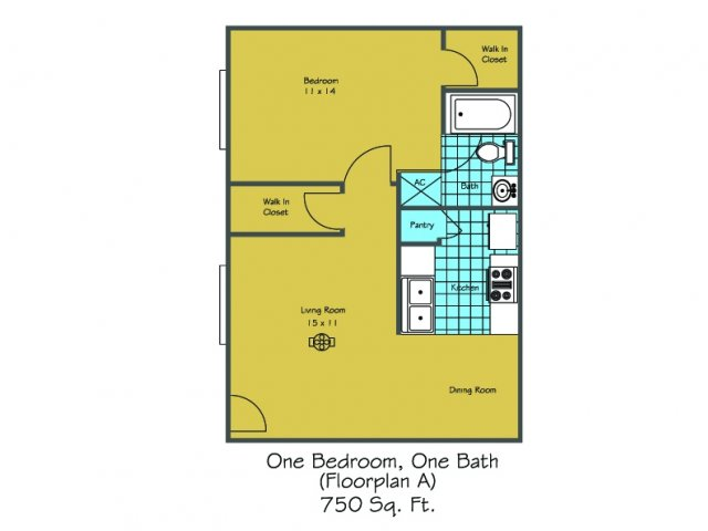 1 Floor Plan 6 | Luxury Apartments In Lafayette LA | Maison Bocage Apartments