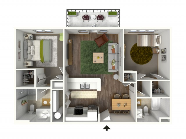 2 Bdrm Floor Plan | Baton Rouge Luxury Apartments | Bayonne at Southshore