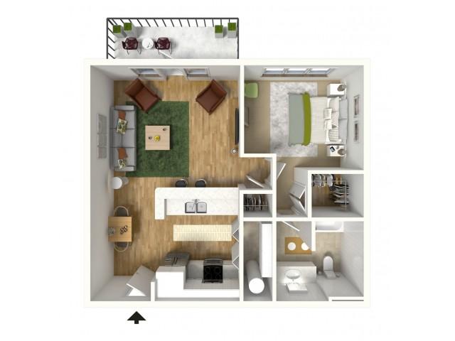 1 Bedroom Floor Plan | Luxury Apartments Baton Rouge | Bayonne at Southshore