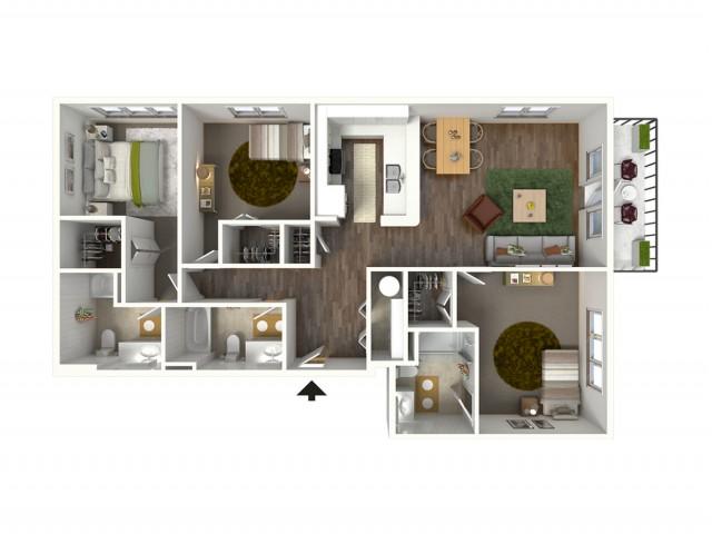 3 Bdrm Floor Plan | Luxury Apartments Baton Rouge | Bayonne at Southshore