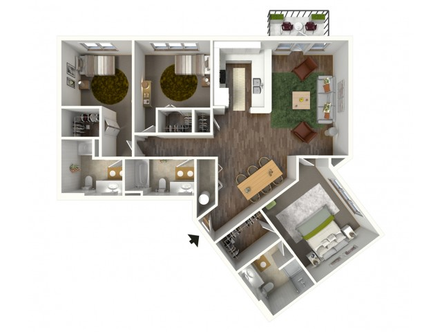 3 Bdrm Floor Plan | Luxury Apartments Baton Rouge | Bayonne at Southshore 1