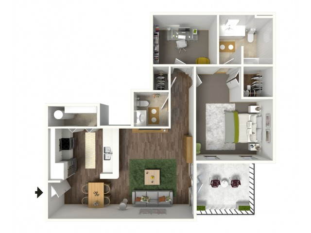 1 Bdrm Floor Plan | 1 Bedroom Apartments For Rent In Baton Rouge | Bayonne at Southshore 4