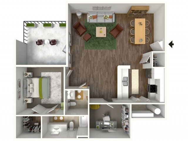 2 Bedroom Floor Plan | Apartments Baton Rouge | Bayonne at Southshore 5