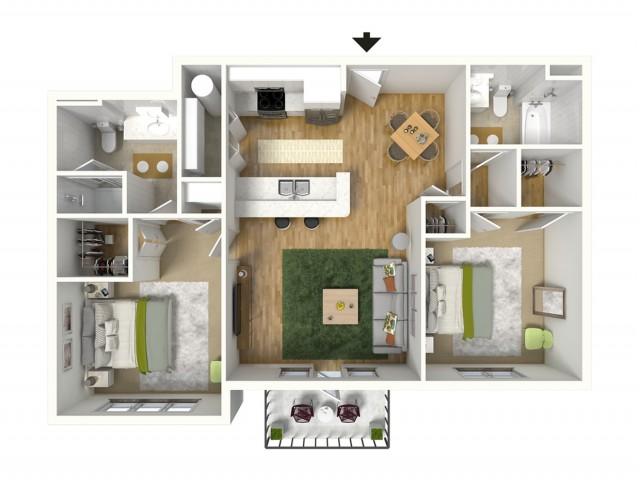 2 Bdrm Floor Plan | Baton Rouge Luxury Apartments | Bayonne at Southshore 3