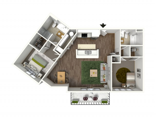 2 Bdrm Floor Plan | Baton Rouge Luxury Apartments | Bayonne at Southshore 4