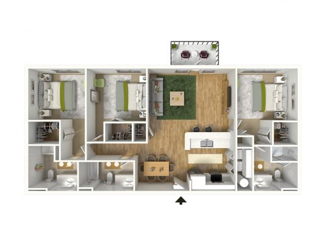 3 Bdrm Floor Plan | Luxury Apartments Baton Rouge | Bayonne at Southshore 3