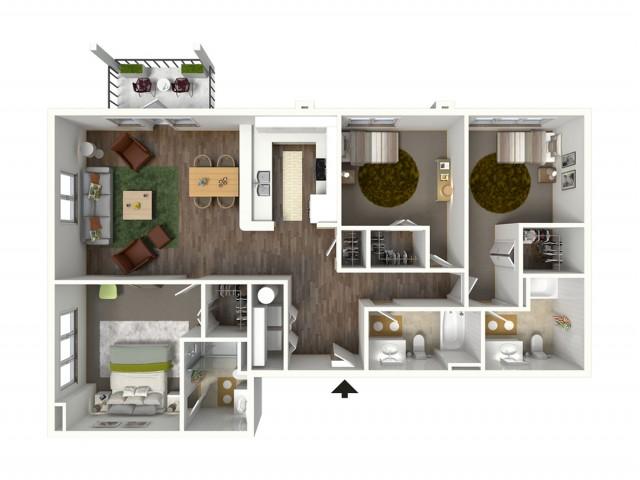 3 Bedroom Floor Plan | Apartments Near LSU | Bayonne at Southshore 4