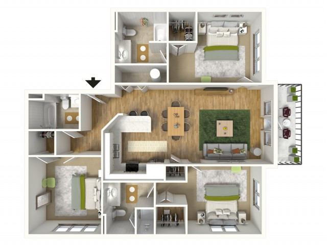 3 Bdrm Floor Plan | Luxury Apartments Baton Rouge | Bayonne at Southshore 5