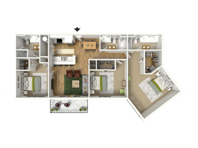 3 Bdrm Floor Plan | Luxury Apartments Baton Rouge | Bayonne at Southshore 2
