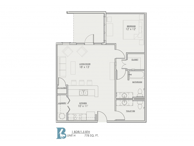 1 Bedroom Floor Plan | Luxury Apartments Baton Rouge | Bayonne at Southshore 3