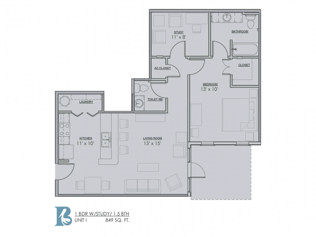 1 Bdrm Floor Plan | 1 Bedroom Apartments For Rent In Baton Rouge | Bayonne at Southshore 3