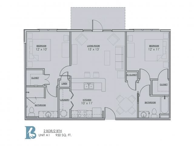 2 Bedroom Floor Plan | Apartments Baton Rouge | Bayonne at Southshore