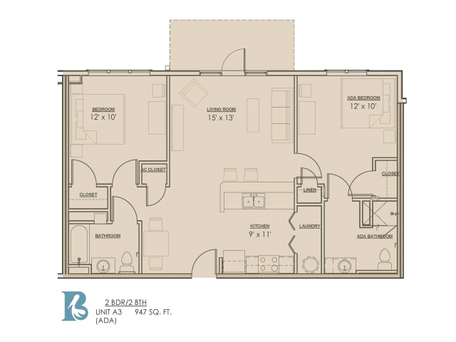 2 Bdrm Floor Plan | Baton Rouge Luxury Apartments | Bayonne at Southshore