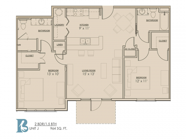 Floor Plan 4 | Baton Rouge Luxury Apartments | Bayonne at Southshore