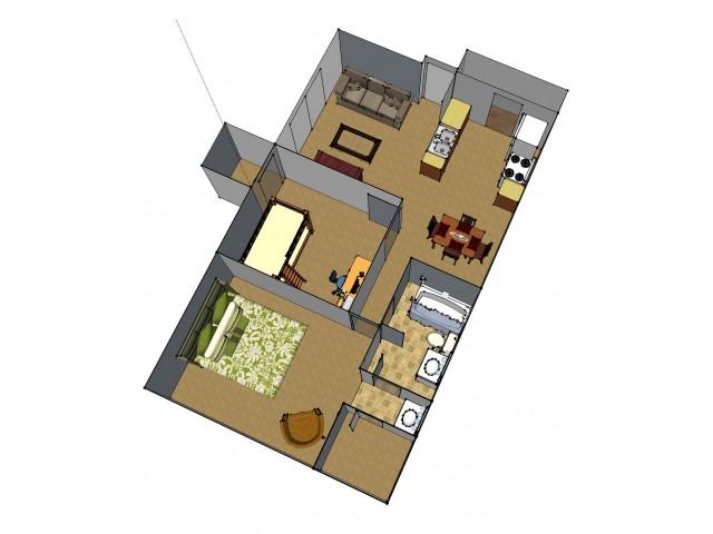 2 Bedroom Floor Plan   Apartments For Rent Baton Rouge   Afton Oaks