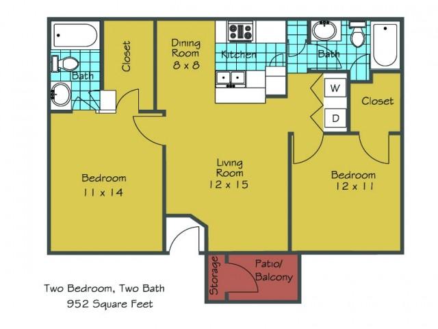 2 Bdrm Floor Plan   Baton Rouge Apartments   Afton Oaks