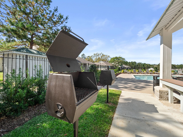 An outside grilling area for social gatherings.