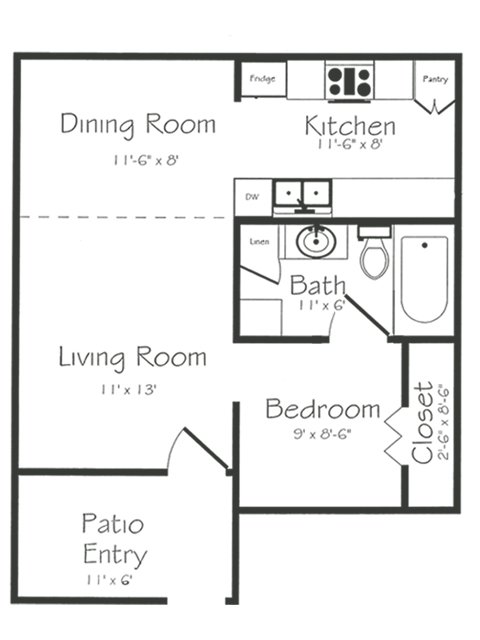 Efficiency Floorplan | Bayou Shadows Apartment Homes