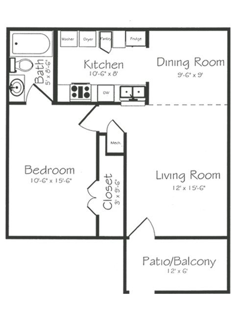 1 Bedroom 1 Bathroom Floorplan | Bayou Shadows Apartment Homes