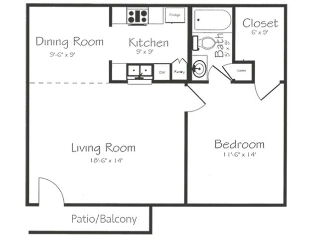 1 Bedroom 1 Bathroom Floorplan | Bayou Shadows Apartment Homes