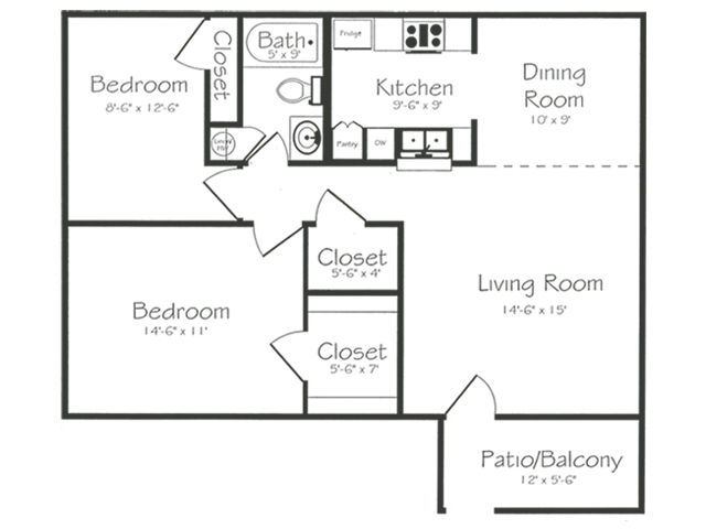 2 Bedroom 1 Bathroom Floorplan | Bayou Shadows Apartment Homes