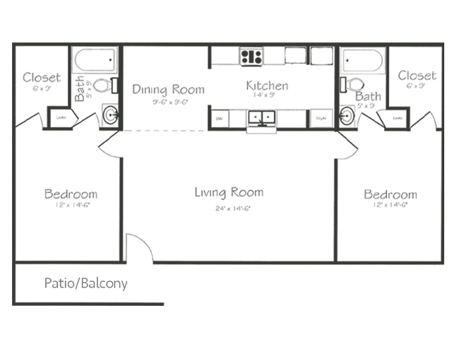 2 Bedroom 2 Bathroom Floorplan | Bayou Shadows Apartment Homes