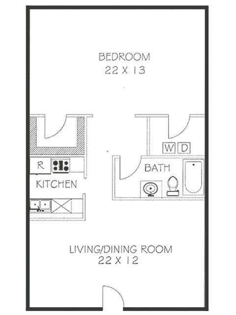 1 Bed 1 Bath Floorplan | Chateaux Dijon Apartments