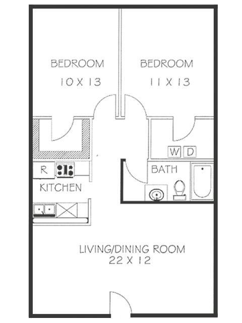 2 Bed 1 Bath Floorplan | Chateaux Dijon Apartments