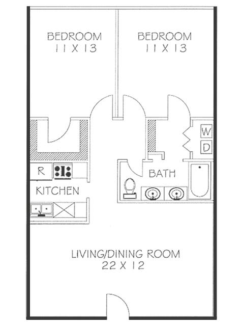 2 Bed 1.25 Bath Floorplan | Chateaux Dijon Apartments