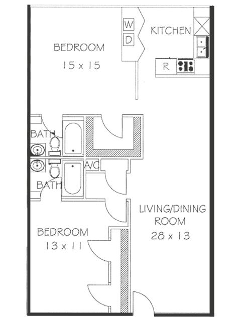 2 Bed 2 Bath Floorplan | Chateaux Dijon Apartments