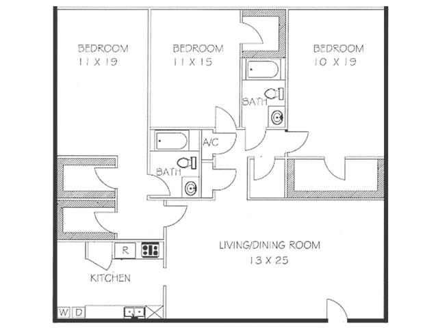 3 Bed 2 Bath Floorplan | Chateaux Dijon Apartments