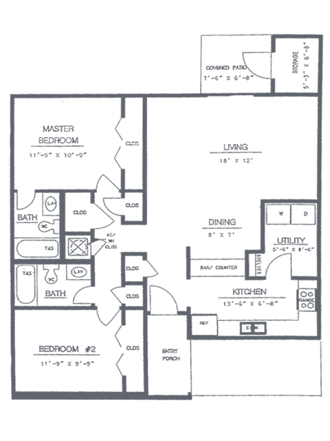 2 Bedroom 2 Bath Floorplan | Sycamore Point Apartment Homes