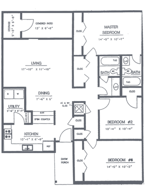 3 Bedroom 2 Bath Floorplan | Sycamore Point Apartment Homes