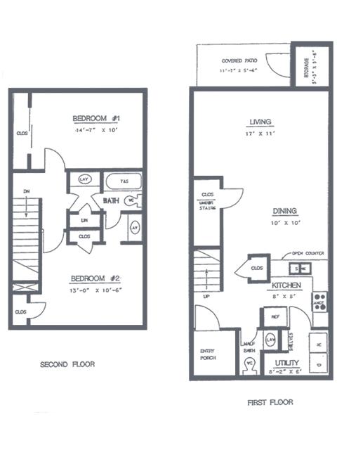 2 Bedroom 1.5 Bath Floorplan | Timber Ridge Apartment Homes