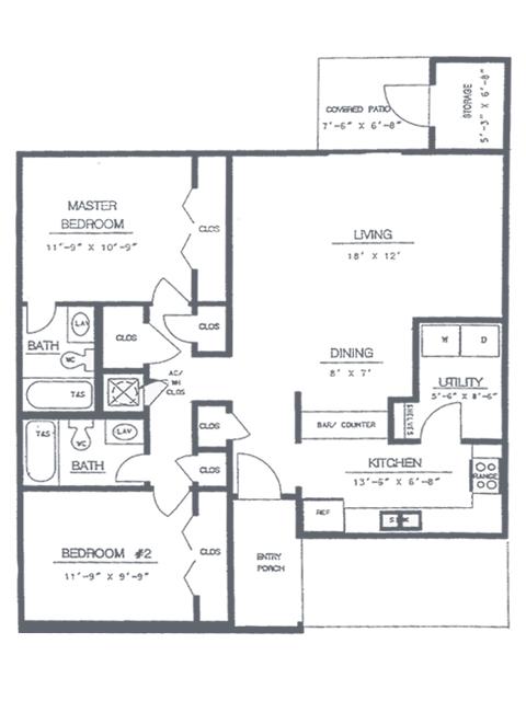 2 Bedroom 2 Bath Floorplan | Timber Ridge Apartment Homes