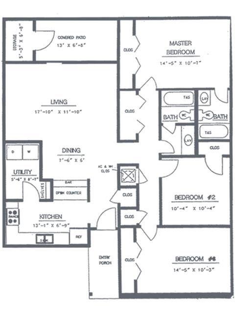 3 Bedroom 2 Bath Floorplan | Timber Ridge Apartment Homes