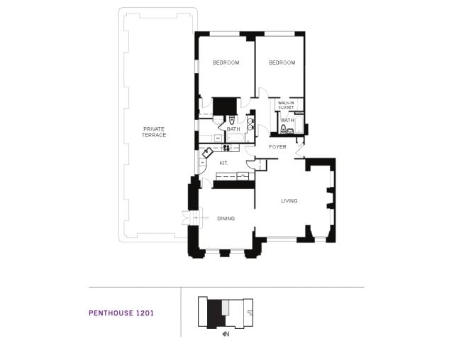 2 Bed 2 Bath Apartment in Seattle WA – Marlborough House Floor Plan