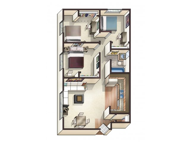 For The 3 Bedroom Floor Plan.