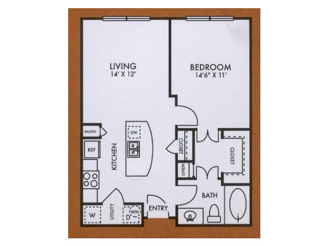 A2 one bed, one bath with kitchen island and walk in closet