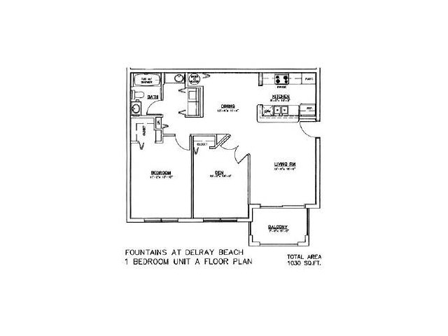 Two bedroom one bathroom floor plan
