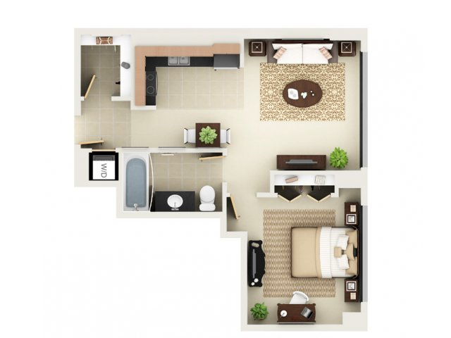 One Bedroom One Bathroom Floor Plan A1