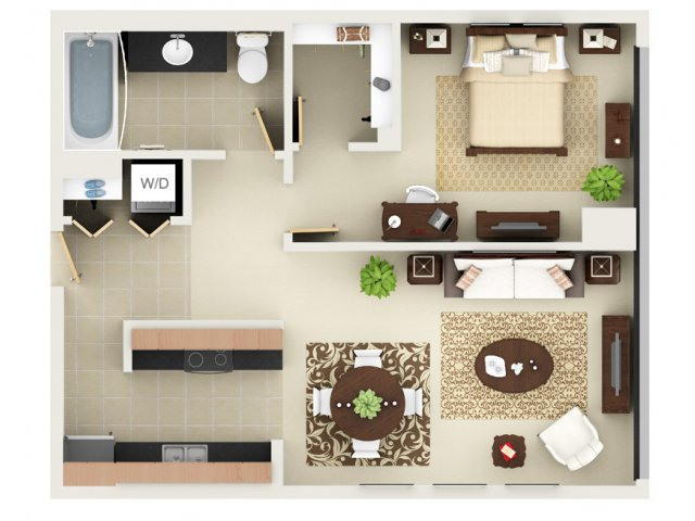 One Bedroom One Bathroom Floor Plan A2
