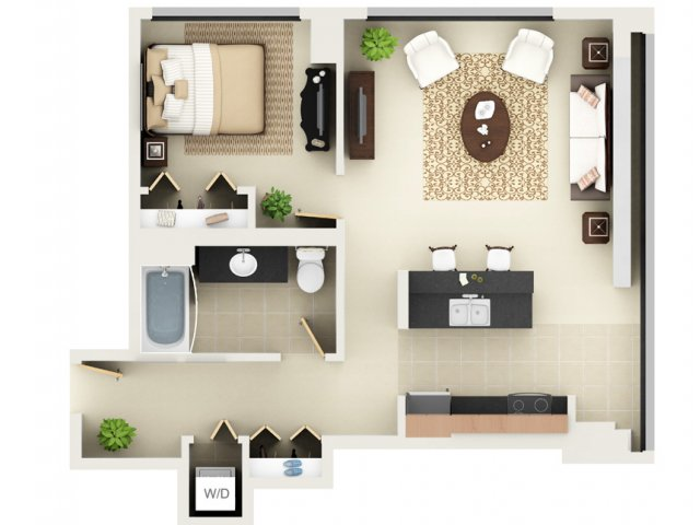 One Bedroom One Bathroom Floor Plan A4