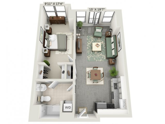 for the One Bedroom Mezzo Flex floor plan.