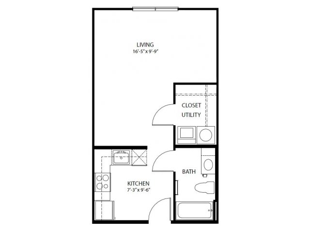 Parkside at Legacy One BedOne Bath Floor Plan For Rent Plano Texas