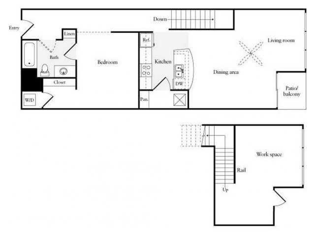 For The 1 BR BA W Island Work Live Floor Plan
