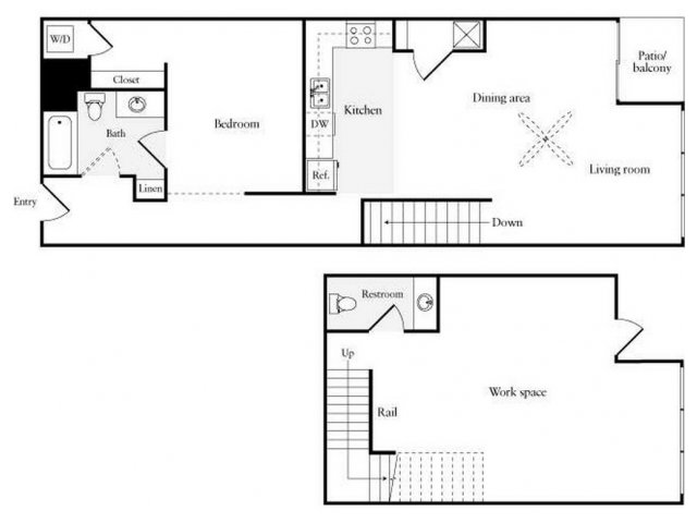 For The 1 BR BA No Island Work Live Floor Plan