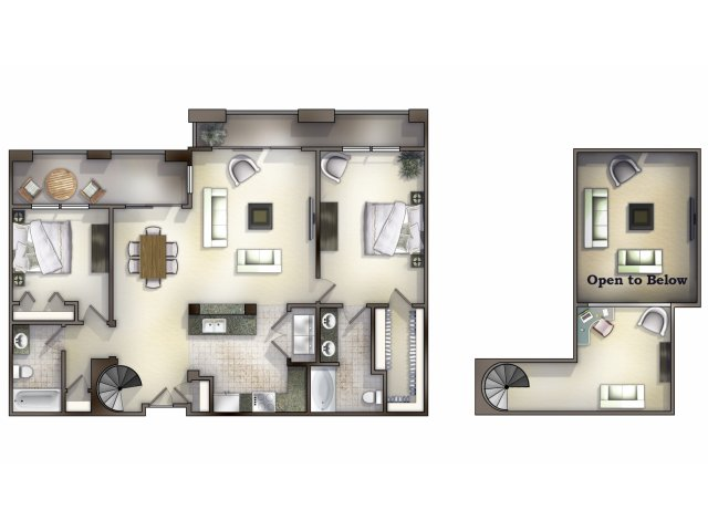 B2-4 two bed, two bath with sitting room on second floor and balcony space
