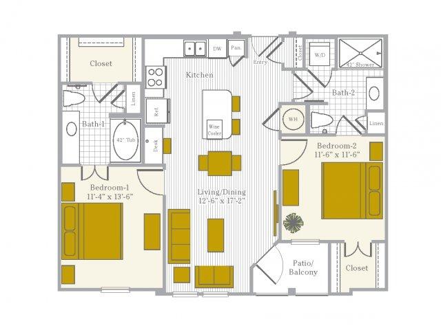 Floor Plan 5 | Flower Mound TX Apartments | Park Central at Flower Mound